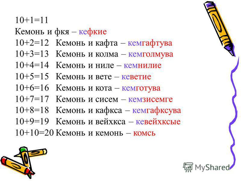 10+1=11 Кемонь и фея – кефкие 10+2=12 Кемонь и кофта – кемгафтува 10+3=13 Кемонь и корма – кемголмува 10+4=14 Кемонь и ниле – кемнилие 10+5=15 Кемонь и вете – кеветие 10+6=16 Кемонь и кота – кемготува 10+7=17 Кемонь и систем – кемзисемге 10+8=18 Кемо
