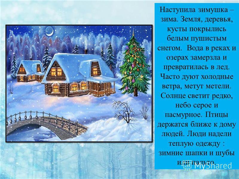 Наступила зимушка – зима. Земля, деревья, кусты покрылись белым пушистым снегом. Вода в реках и озерах замерзла и превратилась в лед. Часто дуют холодные ветра, метут метели. Солнце светит редко, небо серое и пасмурное. Птицы держатся ближе к дому лю
