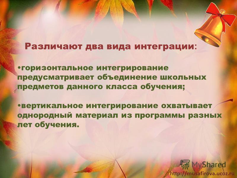 http://musafirova.ucoz.ru Различают два вида интеграции : горизонтальное интегрирование предусматривает объединение школьных предметов данного класса обучения; вертикальное интегрирование охватывает однородный материал из программы разных лет обучени