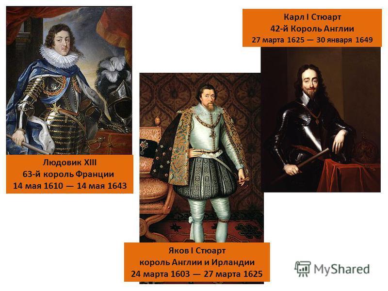 Людовик XIII 63-й король Франции 14 мая 1610 14 мая 1643 Яков I Стюарт король Англии и Ирландии 24 марта 1603 27 марта 1625 Карл I Стюарт 42-й Король Англии 27 марта 1625 30 января 1649