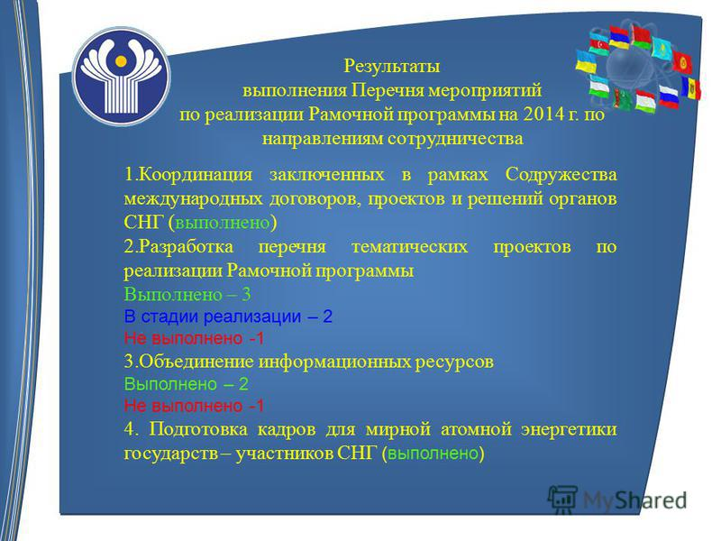 Результаты выполнения Перечня мероприятий по реализации Рамочной программы на 2014 г. по направлениям сотрудничества