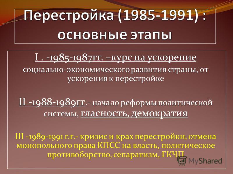 I. -1985-1987 гг. –курс на ускорение социально-экономического развития страны, от ускорения к перестройке II -1988-1989 гг.- начало реформы политической системы, гласность, демократия III -1989-1991 г.г.- кризис и крах перестройки, отмена монопольног