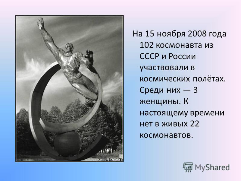 На 15 ноября 2008 года 102 космонавта из СССР и России участвовали в космических полётах. Среди них 3 женщины. К настоящему времени нет в живых 22 космонавтов.