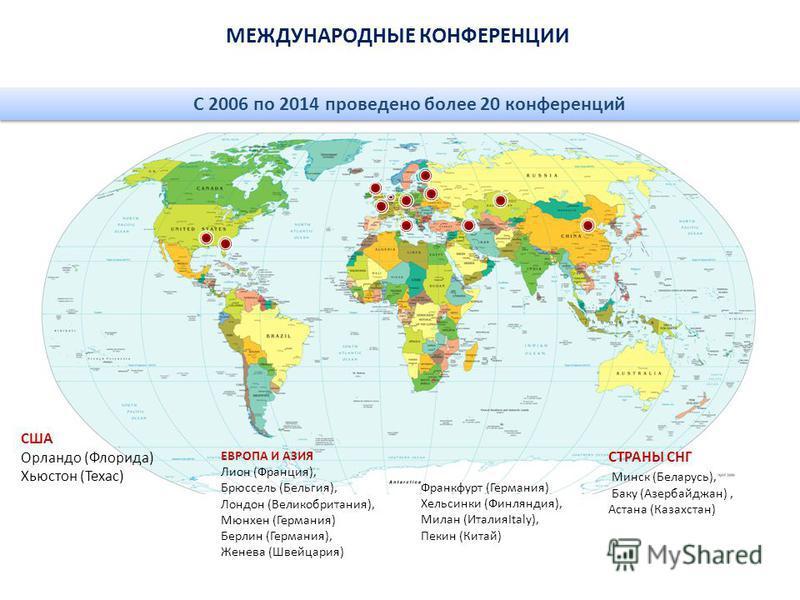 МЕЖДУНАРОДНЫЕ КОНФЕРЕНЦИИ С 2006 по 2014 проведено более 20 конференций США Орландо (Флорида) Хьюстон (Техас) ЕВРОПА И АЗИЯ Лион (Франция), Брюссель (Бельгия), Лондон (Великобритания), Мюнхен (Германия) Берлин (Германия), Женева (Швейцария) Франкфурт