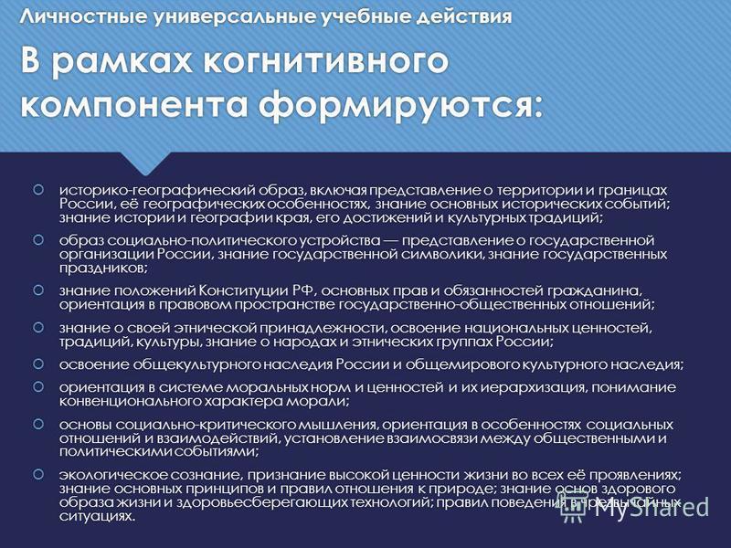 историко-географический образ, включая представление о территории и границах России, её географических особенностях, знание основных исторических событий; знание истории и географии края, его достижений и культурных традиций; образ социально-политиче