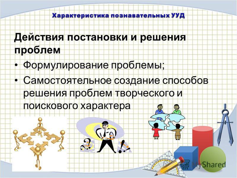 Действия постановки и решения проблем Формулирование проблемы; Самостоятельное создание способов решения проблем творческого и поискового характера