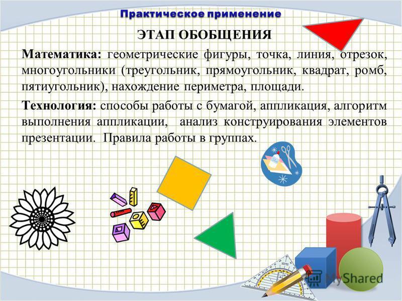 ЭТАП ОБОБЩЕНИЯ Математика: геометрические фигуры, точка, линия, отрезок, многоугольники (треугольник, прямоугольник, квадрат, ромб, пятиугольник), нахождение периметра, площади. Технология: способы работы с бумагой, аппликация, алгоритм выполнения ап
