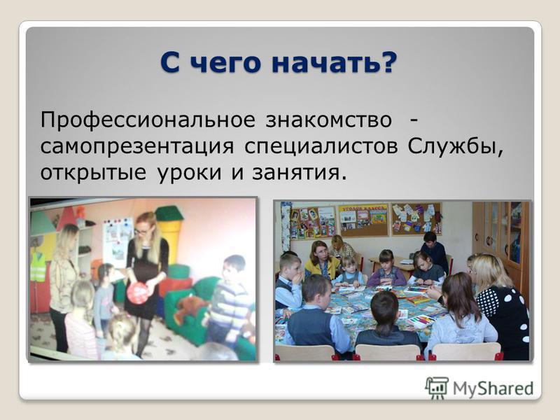 С чего начать? Профессиональное знакомство - самопрезентация специалистов Службы, открытые уроки и занятия.