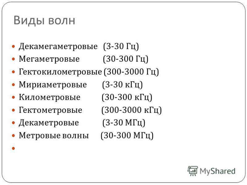 Виды волн Декамегаметровые (3-30 Гц ) Мегаметровые (30-300 Гц ) Гектокилометровые (300-3000 Гц ) Мириаметровые (3-30 к Гц ) Километровые (30-300 к Гц ) Гектометровые (300-3000 к Гц ) Декаметровые (3-30 МГц ) Метровые волны (30-300 МГц )