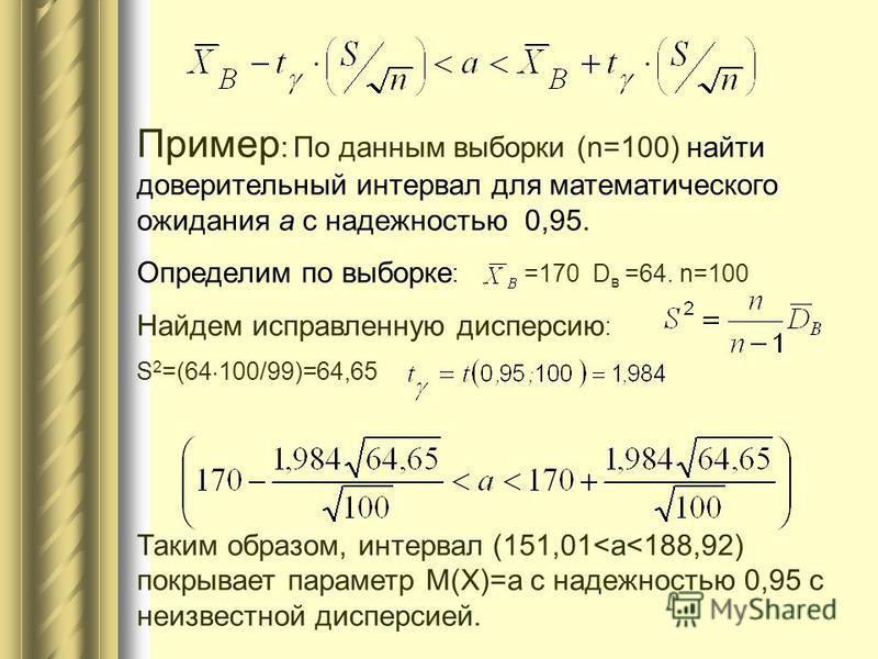 Пример : По данным выборки (n=100) найти доверительный интервал для математического ожидания a с надежностью 0,95. Определим по выборке : =170 D в =64. n=100 Найдем исправленную дисперсию : S 2 =(64 100/99)=64,65 Таким образом, интервал (151,01