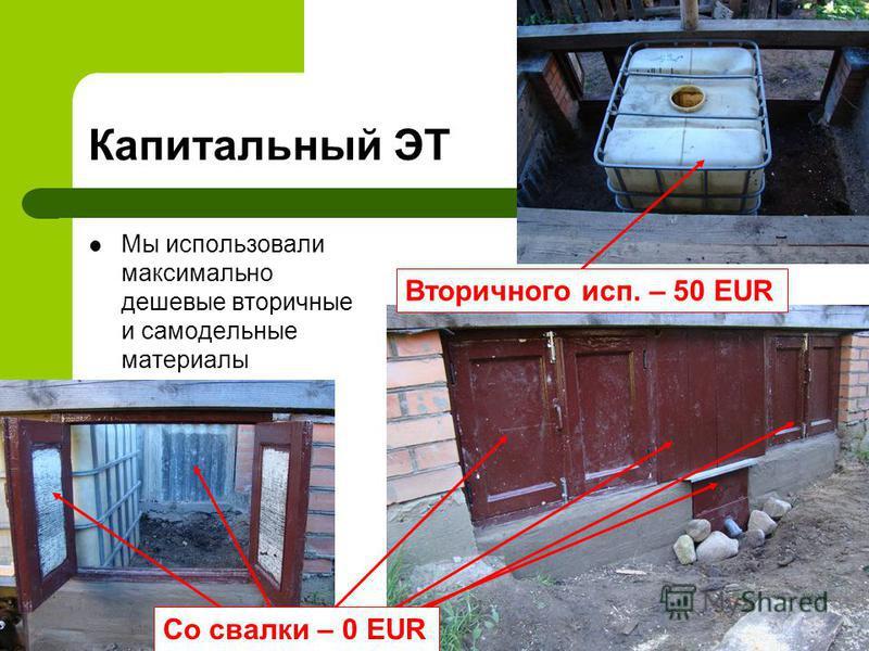 Капитальный ЭТ Мы использовали максимально дешевые вторичные и самодельные материалы Вторичного исп. – 50 EUR Со свалки – 0 EUR