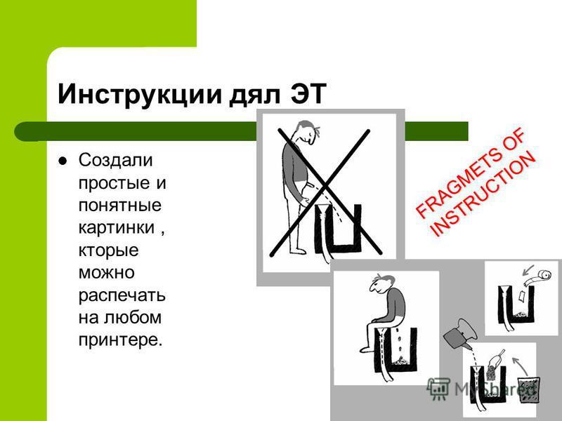 Инструкции для ЭТ Создали простые и понятные картинки, которые можно распечать на любом принтере. FRAGMETS OF INSTRUCTION
