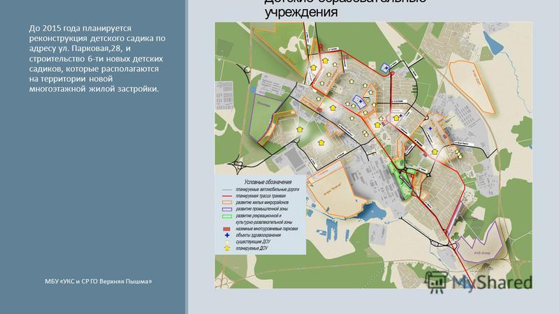 Детские образовательные учреждения До 2015 года планируется реконструкция детского садика по адресу ул. Парковая,28, и строительство 6-ти новых детских садиков, которые располагаются на территории новой многоэтажной жилой застройки. МБУ «УКС и СР ГО