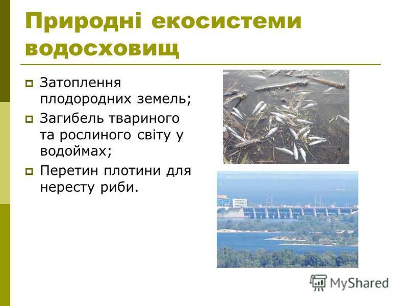 Природні екосистеми водосховищ Затоплення плодородних земель; Загибель твариного та рослиного світу у водоймах; Перетин плотини для нересту риби.