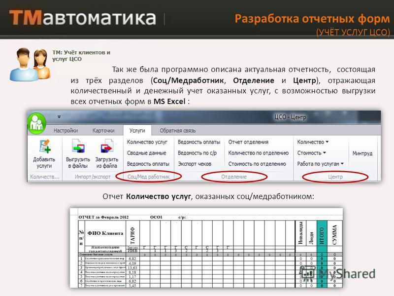 Так же была программно описана актуальная отчетность, состоящая из трёх разделов (Соц/Медработник, Отделение и Центр), отражающая количественный и денежный учет оказанных услуг, с возможностью выгрузки всех отчетных форм в MS Excel : Разработка отчет
