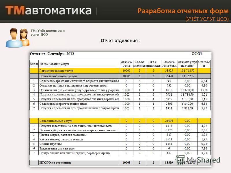 Разработка отчетных форм (УЧЁТ УСЛУГ ЦСО) Отчет отделения :