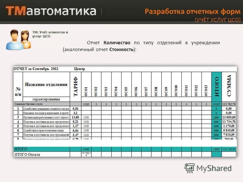 Разработка отчетных форм (УЧЁТ УСЛУГ ЦСО) Отчет Количество по типу отделений в учреждении (аналогичный отчет Стоимость):