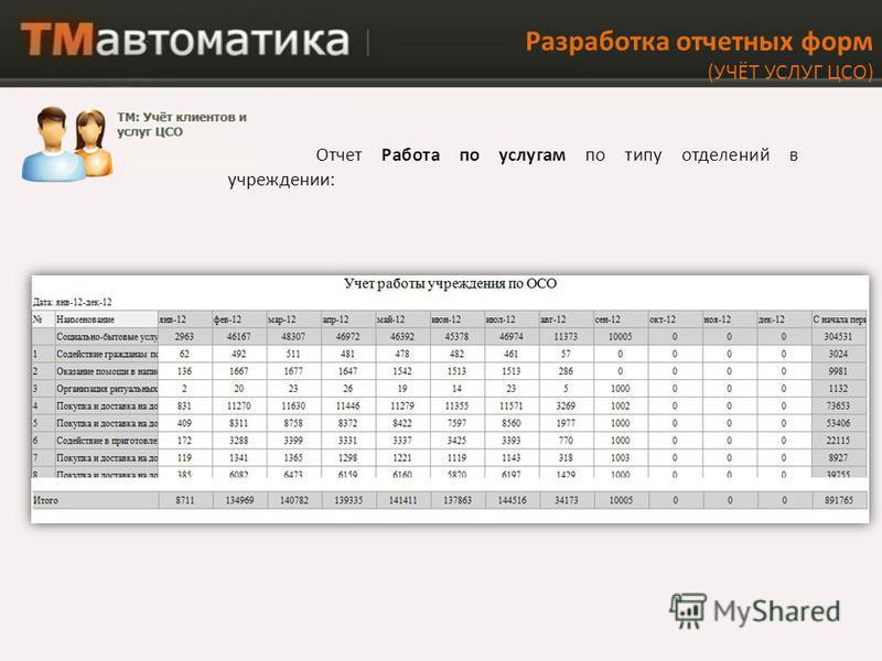 Разработка отчетных форм (УЧЁТ УСЛУГ ЦСО) Отчет Работа по услугам по типу отделений в учреждении: