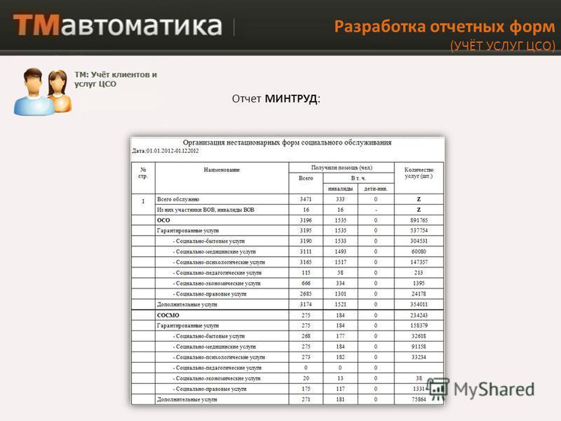 Разработка отчетных форм (УЧЁТ УСЛУГ ЦСО) Отчет МИНТРУД: