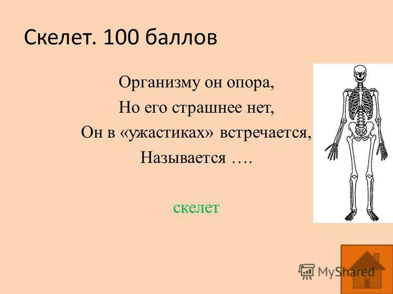 Скелет. 100 баллов Организму он опора, Но его страшнее нет, Он в «ужастиках» встречается, Называется …. скелет
