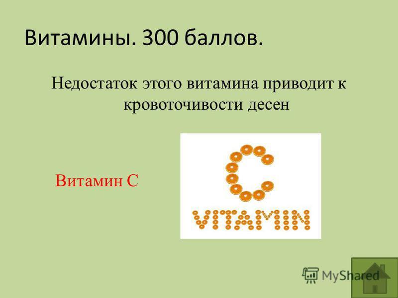 Витамины. 300 баллов. Недостаток этого витамина приводит к кровоточивости десен Витамин С