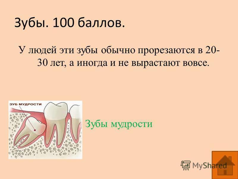 Зубы. 100 баллов. У людей эти зубы обычно прорезаются в 20- 30 лет, а иногда и не вырастают вовсе. Зубы мудрости