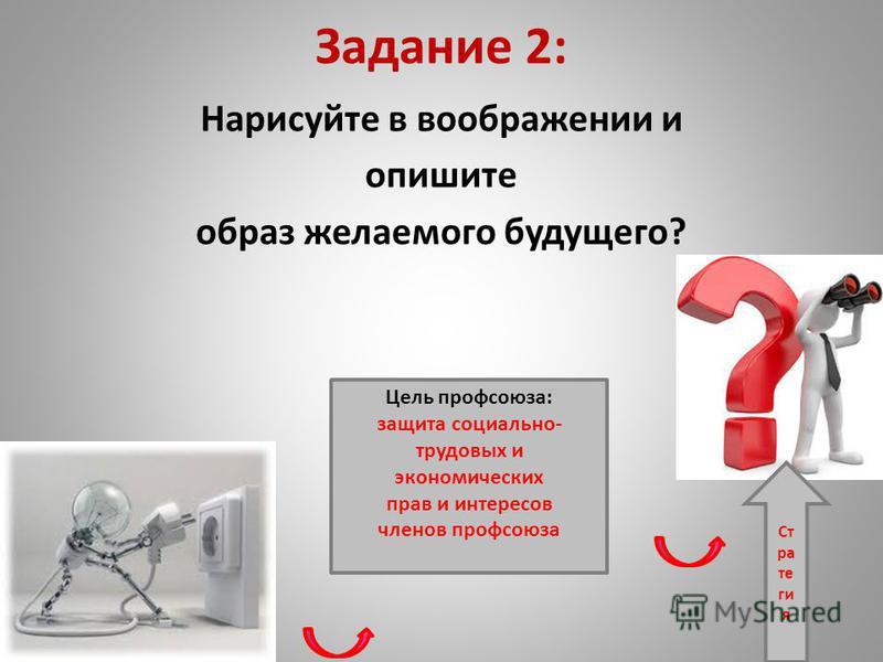 Задание 2: Нарисуйте в воображении и опишите образ желаемого будущего? Цель профсоюза: защита социально- трудовых и экономических прав и интересов членов профсоюза Ст ра те ги я