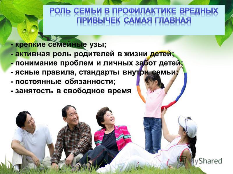 L/O/G/O - крепкие семейные узы; - активная роль родителей в жизни детей; - понимание проблем и личных забот детей; - ясные правила, стандарты внутри семьи; - постоянные обязанности; - занятость в свободное время - крепкие семейные узы; - активная рол