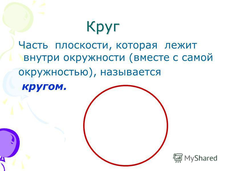 Круг Часть плоскости, которая лежит внутри окружности (вместе с самой окружностью), называется кругом.