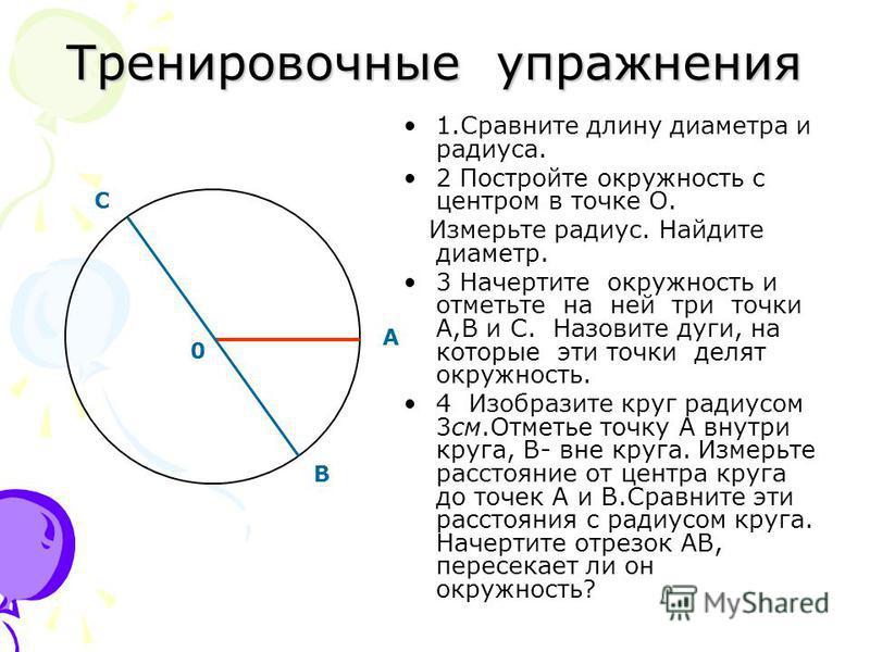Тренировочные упражнения 1. Сравните длину диаметра и радиуса. 2 Постройте окружность с центром в точке О. Измерьте радиус. Найдите диаметр. 3 Начертите окружность и отметьте на ней три точки А,В и С. Назовите дуги, на которые эти точки делят окружно