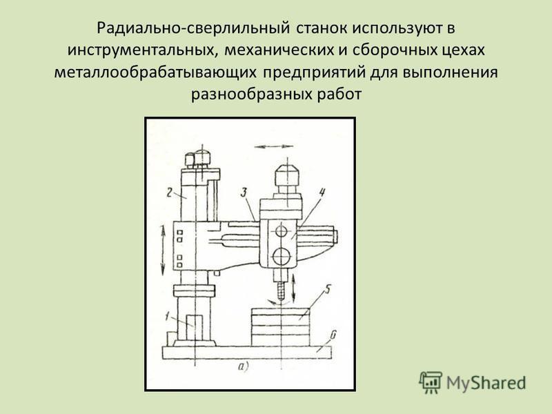 Радиально-сверлильный станок используют в инструментальных, механических и сборочных цехах металлообрабатывающих предприятий для выполнения разнообразных работ