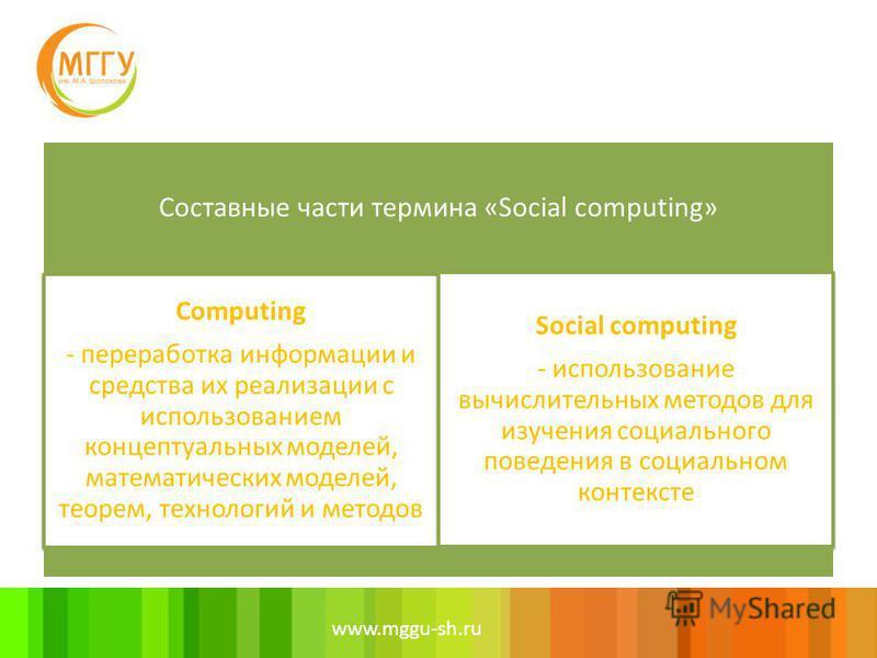 www.mggu-sh.ru Составные части термина «Social computing» Computing - переработка информации и средства их реализации с использованием концептуальных моделей, математических моделей, теорем, технологий и методов Social computing - использование вычис