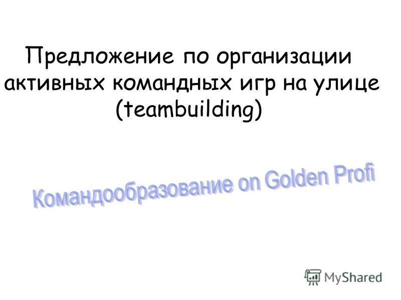 Предложение по организации активных командных игр на улице (teambuilding)