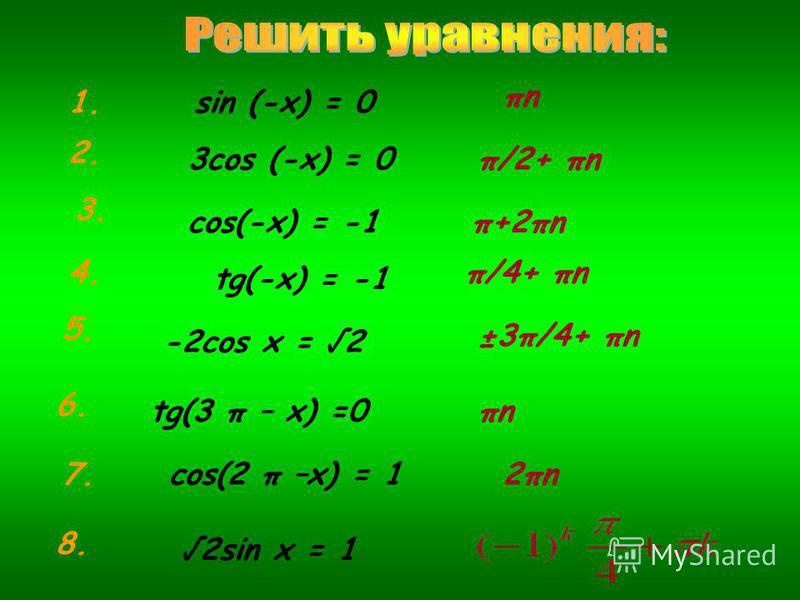 sin (-x) = 0 3cos (-x) = 0 -2cos x = 2 cos(-x) = -1 tg(-x) = -1 tg(3 π – x) =0 cos(2 π –x) = 1 2sin x = 1 πnπn π/2+ πn π+2πn π/4+ πn ±3π/4+ πn πnπn 2πn2πn 1. 2. 3. 4. 5. 6. 7. 8.