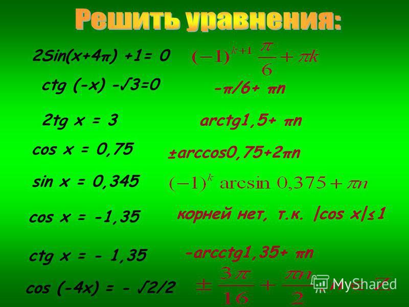 2Sin(x+4π) +1= 0 ctg (-x) -3=0 -π/6+ πn 2tg x = 3arctg1,5+ πn cos x = 0,75 ±arccos0,75+2πn sin x = 0,345 cos x = -1,35 ctg x = - 1,35 cos (-4x) = - 2/2 корней нет, т.к. |cos x|1 -arcсtg1,35+ πn
