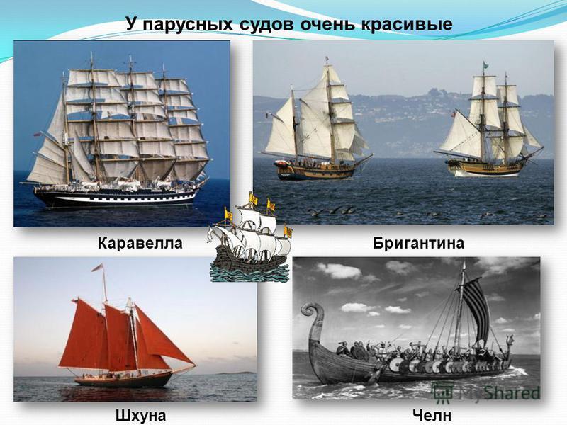 У парусных судов очень красивые названия: Каравелла Бригантина Шхуна Челн