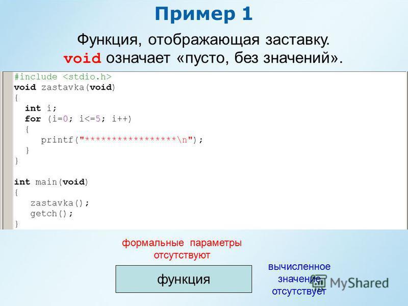 Пример 1 Функция, отображающая заставку. void означает «пусто, без значений». функция формальные параметры отсутствуют вычисленное значение отсутствует