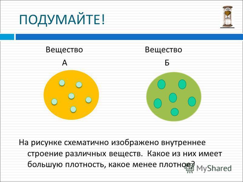 ПОДУМАЙТЕ ! Вещество Вещество А Б На рисунке схематично изображено внутреннее строение различных веществ. Какое из них имеет большую плотность, какое менее плотное ?