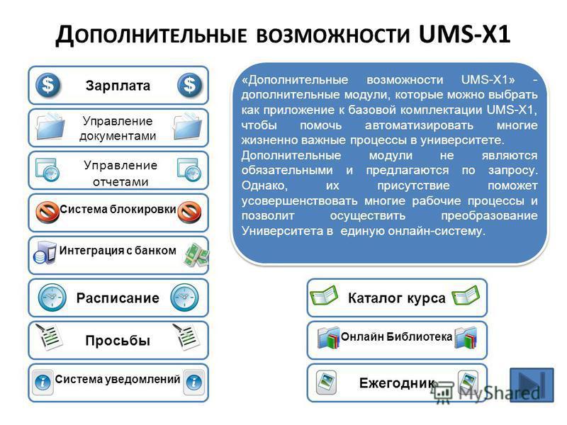 Зарплата «Дополнительные возможности UMS-X1» - дополнительные модули, которые можно выбрать как приложение к базовой комплектации UMS-X1, чтобы помочь автоматизировать многие жизненно важные процессы в университете. Дополнительные модули не являются