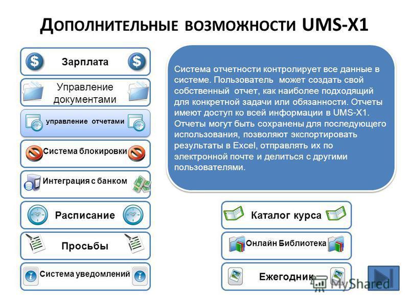 Система отчетности контролирует все данные в системе. Пользователь может создать свой собственный отчет, как наиболее подходящий для конкретной задачи или обязанности. Отчеты имеют доступ ко всей информации в UMS-X1. Отчеты могут быть сохранены для п