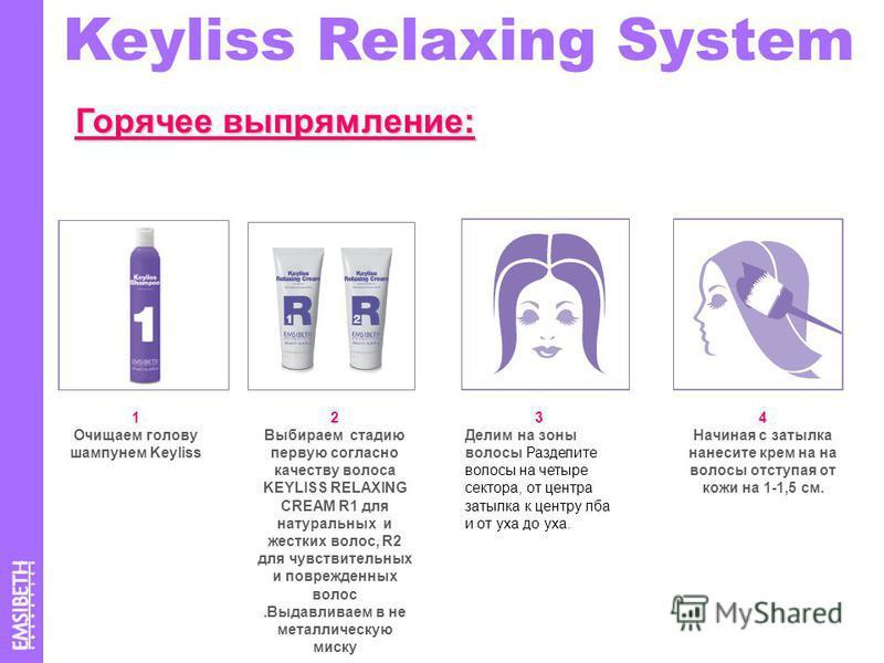 Keyliss Relaxing System Горячее выпрямление: 1 Очищаем голову шампунем Keyliss 2 Выбираем стадию первую согласно качеству волоса KEYLISS RELAXING CREAM R1 для натуральных и жестких волос, R2 для чувствительных и поврежденных волос.Выдавливаем в не ме