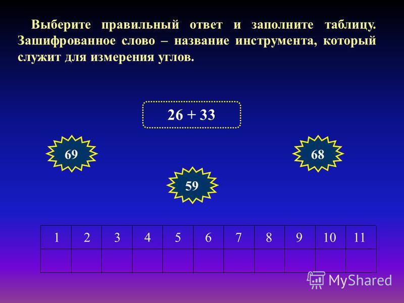 Выберите правильный ответ и заполните таблицу. Зашифрованное слово – название инструмента, который служит для измерения углов. 1234567891011 26 + 33 69 59 68