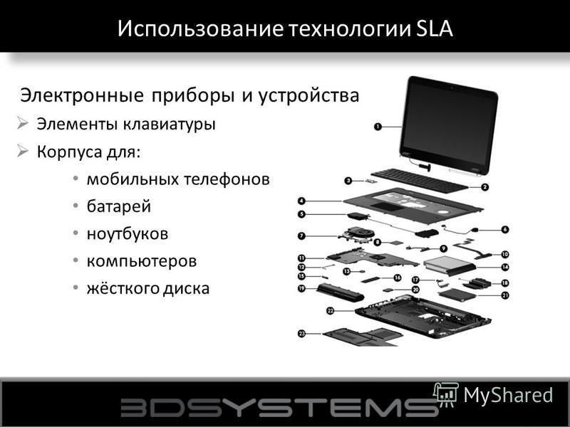 Использование технологии SLA Электронные приборы и устройства Элементы клавиатуры Корпуса для: мобильных телефонов батарей ноутбуков компьютеров жёсткого диска