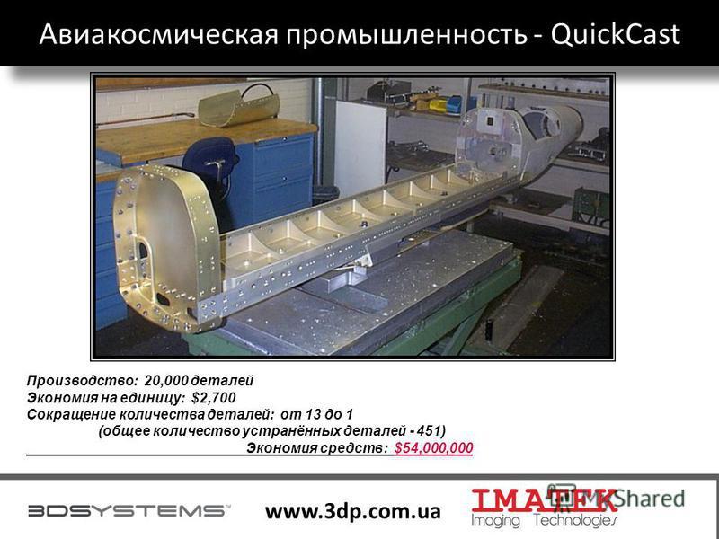 30 www.3dp.com.ua Производство: 20,000 деталей Экономия на единицу: $2,700 Сокращение количества деталей: от 13 до 1 (общее количество устранённых деталей - 451) Экономия средств: $54,000,000 Авиакосмическая промышленность - QuickCast
