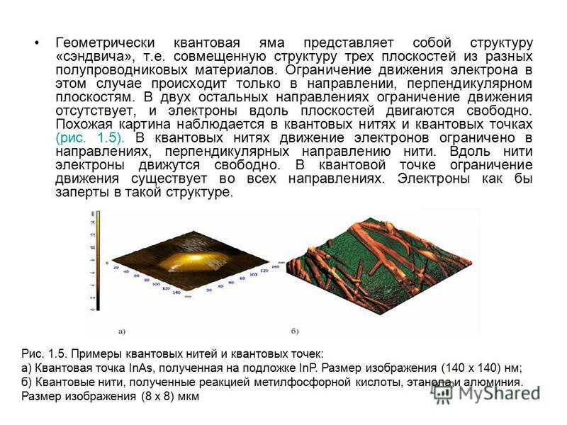 Геометрически квантовая яма представляет собой структуру «сэндвича», т.е. совмещенную структуру трех плоскостей из разных полупроводниковых материалов. Ограничение движения электрона в этом случае происходит только в направлении, перпендикулярном пло