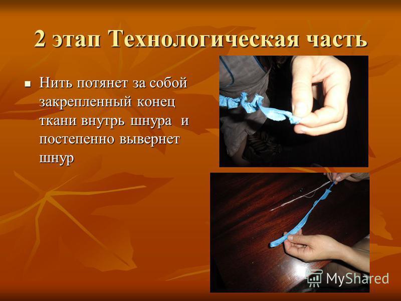 2 этап Технологическая часть Нить потянет за собой закрепленный конец ткани внутрь шнура и постепенно вывернет шнур Нить потянет за собой закрепленный конец ткани внутрь шнура и постепенно вывернет шнур