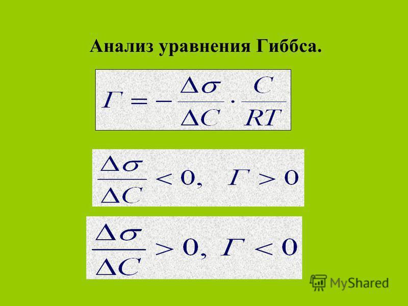 Анализ уравнения Гиббса.