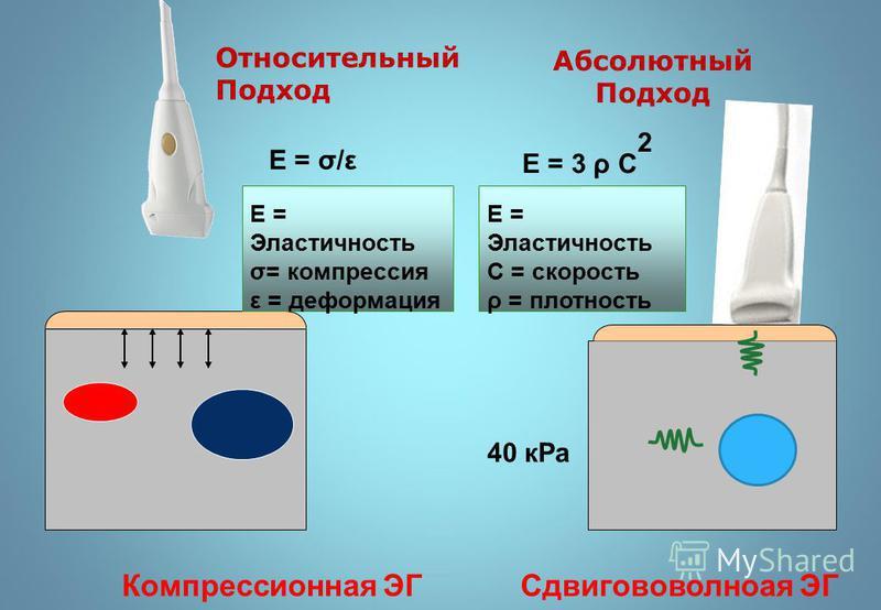 E = Эластичность σ= компрессия ε = деформация E = Эластичность С = скорость ρ = плотность Относительный Подход Абсолютный Подход 40 кPa Е = σ/ε Е = 3 ρ С 2 Компрессионная ЭГСдвигововолноая ЭГ