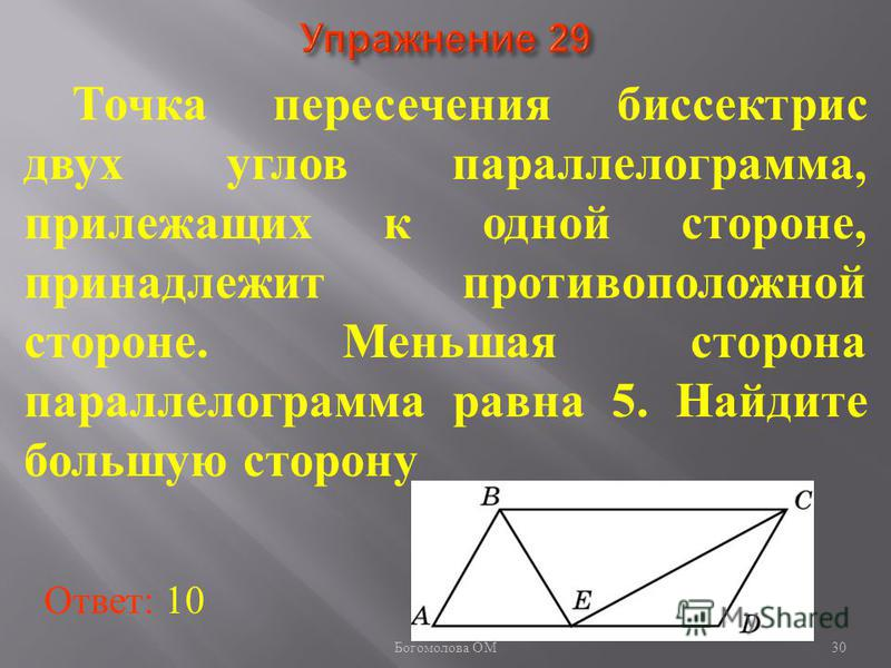 Точка пересечения биссектрис двух углов параллелограмма, прилежащих к одной стороне, принадлежит противоположной стороне. Меньшая сторона параллелограмма равна 5. Найдите большую сторону Ответ: 10 30 Богомолова ОМ