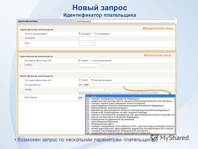 Новый запрос Идентификатор плательщика Возможен запрос по нескольким параметрам плательщика